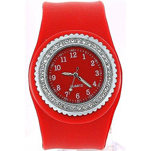 Rote durch Kristalle verzierte Slap Uhr mit Armband aus Silikon