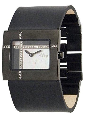 Moog Paris Mondrian mit Schwarzem und Weissem Perlmutt Zifferblatt Swarovski Elements Schwarzem Armband aus echtem Leder M44372F 010