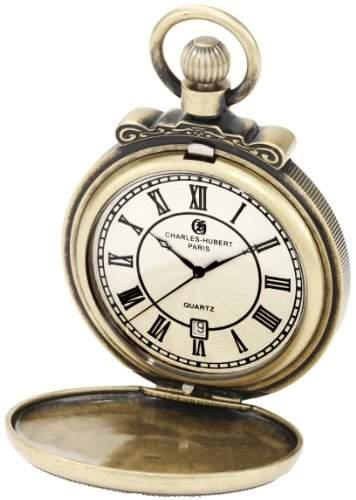 Charles-Hubert-Paris Damen-Armbanduhr 47mm Gehaeuse Messing Quarz Zifferblatt Weiss Analog 3864-G