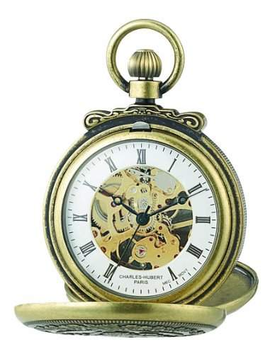 Charles-Hubert-Paris Damen-Armbanduhr 47mm Gehaeuse Messing Handaufzug Zifferblatt Weiss 3868-G