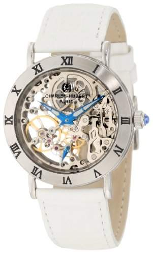 Charles-Hubert-Paris Damen-Armbanduhr 35mm Armband Kalbsleder Weiß Gehäuse Edelstahl Handaufzug 6790-W