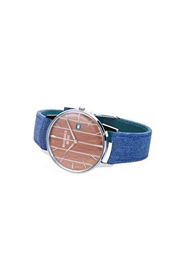 Watch Watchmaker Milano Ambrogio Weekend Timeonly in Steel Dial Wood Teak Jeans Blue