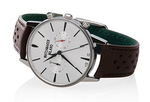 Watch Watchmaker Milano Bauscia Chrono Dakr Brown Leather White Dial