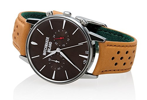 Watch Watchmaker Milano Bauscia Chrono Light Brown Leather Brown Dial