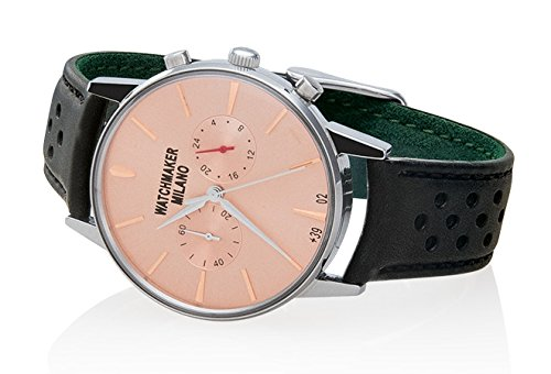Watch Watchmaker Milano Bauscia Chrono Black Leather Pink Dial