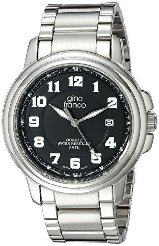 gino franco Herren 909BK Runde Edelstahl Armband Uhr