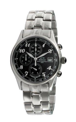 gino franco Herren 944BK Round Stainless Steel Chronograph Armbanduhr
