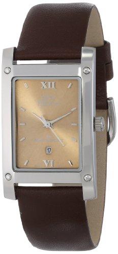 gino franco Herren 949BR quadratisches Edelstahlgehaeuse Lederarmband Uhr