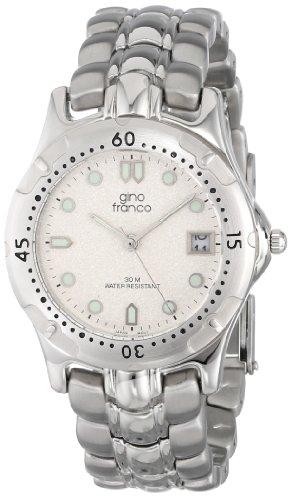 gino franco Herren 953 1 Runde Edelstahl Armband Uhr