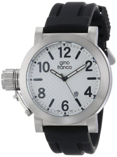 gino franco Herren 9617WT Westside Runde Edelstahl Lederarmband Uhr