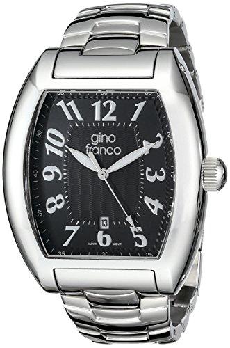 gino franco Herren 9643BK tonnenfoermige Edelstahl Armband Uhr
