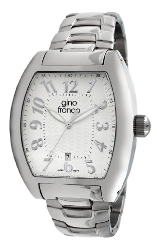 gino franco Herren 9643SL tonnenfoermige Edelstahl Armband Uhr