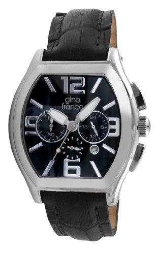 gino franco Herren 9655BK tonnenfoermige Chronograph Edelstahl Lederarmband Uhr