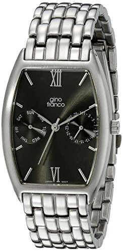 gino franco Herren 966GY Multi Function Gunmetal Ion Plated Stainless Steel Armbanduhr