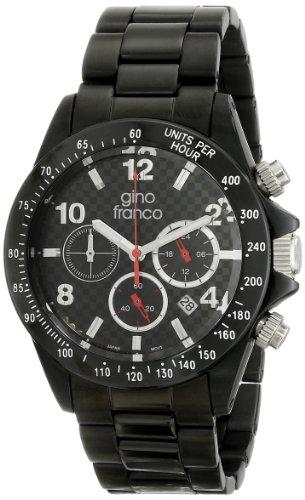 gino franco Herren 9688BK Rogue Round Chronograph Black Ion Plated Armbanduhr
