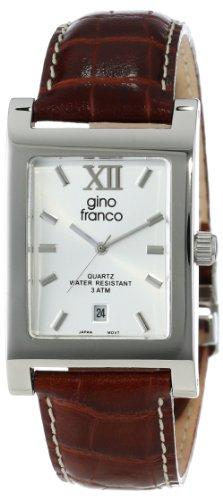 gino franco Herren 997TN Edelstahlgehaeuse und Lederarmband Uhr