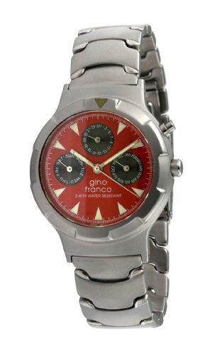 gino franco Herren 980RD Runde Edelstahl Multi Function Armbanduhr