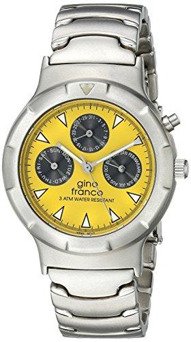 gino franco Herren 980YL Runde Edelstahl Multi Function Armbanduhr