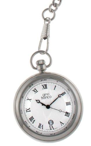 gino franco Herren 990SL Round Stainless Steel Silver Dial Pocket Watch