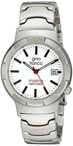 gino franco Herren 981WT Marina Runde Edelstahl Armband Uhr