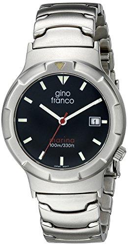 gino franco Herren 981BK Marina Runde Edelstahl Armband Uhr