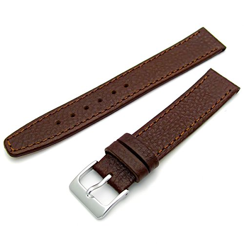Echtes Leder Uhrenarmband ODD Groessen 19 mm braun mit Chrom Silber Farbe Schnalle