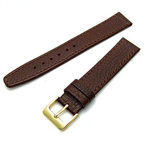 Echtes Leder Uhrenarmband ODD Groessen 19 mm braun mit vergoldet Gold Farbe Schnalle