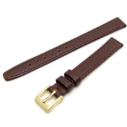 Echtes Leder Uhrenarmband ODD Groessen 9 mm Braun mit vergoldet Gold Farbe Schnalle