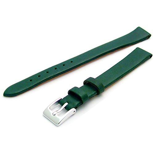 Feines Kalb Leder Uhrenarmband Band 14 mm extra langer XL Gruen mit Chrom Silber Farbe Schnalle KOSTENLOSE Spring Bars Armbanduhr Pins