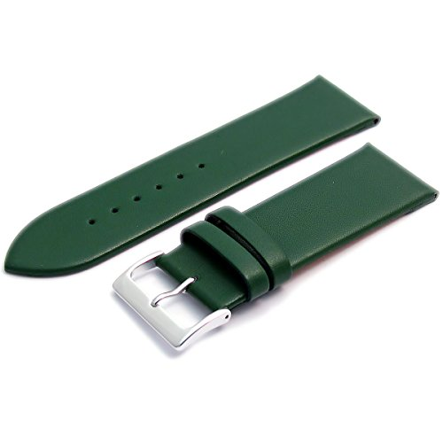 Feines Kalb Leder Uhrenarmband Band 26 mm Gruen mit Chrom Silber Farbe Schnalle KOSTENLOSE Spring Bars Armbanduhr Pins