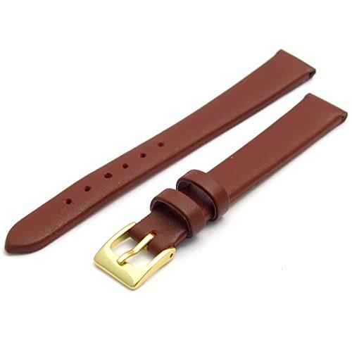 Feines Kalb Leder Uhrenarmband Band 14 mm burgunderrot mit vergoldet Gold Farbe Schnalle KOSTENLOSE Spring Bars Armbanduhr Pins
