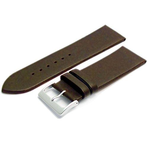 Feines Kalb Leder Uhrenarmband Band 24 mm Dunkelbraun mit Chrom Silber Farbe Schnalle KOSTENLOSE Spring Bars Armbanduhr Pins