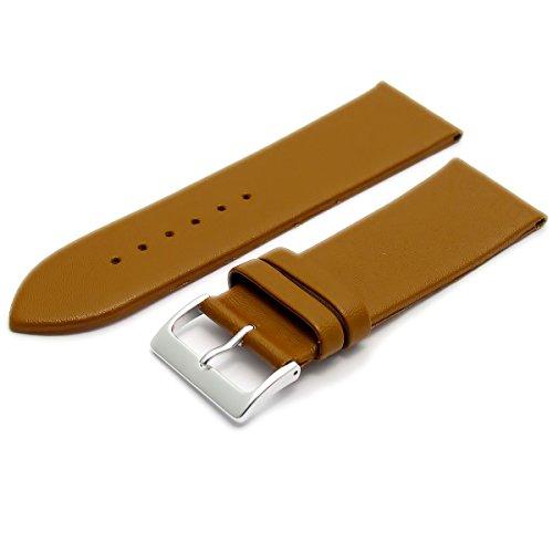 Feines Kalb Leder Uhrenarmband Band 30 mm hellbraun mit Chrom Silber Farbe Schnalle KOSTENLOSE Spring Bars Armbanduhr Pins