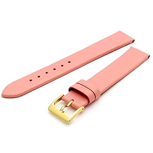 Feines Kalb Leder Uhrenarmband Band 16 mm extra langer XL Pink mit vergoldet Gold Farbe Schnalle KOSTENLOSE Spring Bars Armbanduhr Pins