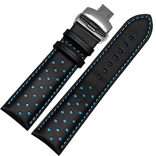 Atmungsaktiv Schwarz 22 mm Uhrenarmband weiches Leder Sporting Band Faltschliesse Schnalle blau Stickerei