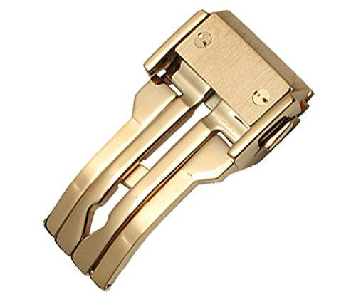NEU 22 mm Edelstahl vergoldet Faltschliesse Schnalle Passform Hublot Uhrenarmband