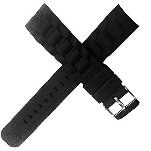 New HQ Sport Gebogene Enden 20 mm Taucher schwarz Silikon Uhrenarmband Band