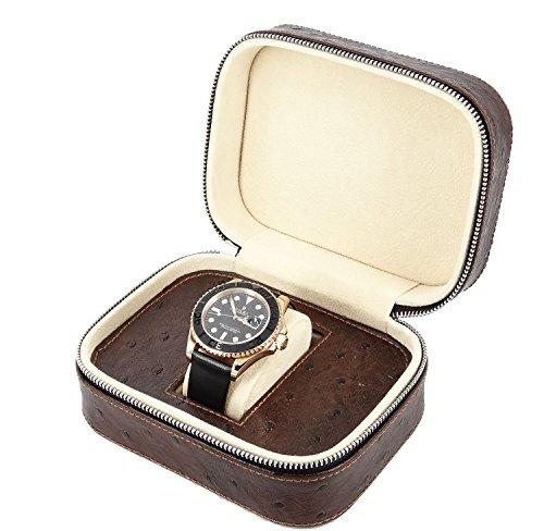 New Geschenk Braun Leder 1 slot Armbanduhr Travel Aufbewahrungstasche Fall Tasche Armbanduhr
