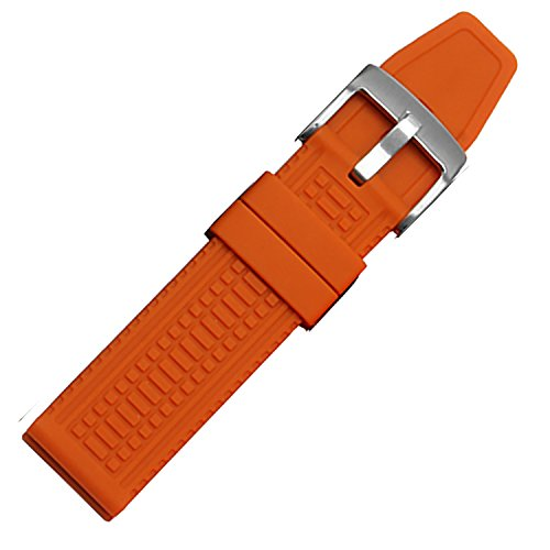 New Herren Orange Silikon Uhrenarmband Bands Wasserdicht 24 mm S S Schnalle