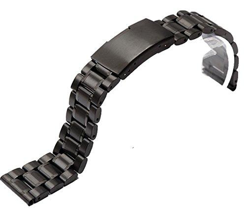 Schwarz Edelstahl Armbanduhr Armband Band Gurt gerade Ende links 26 mm