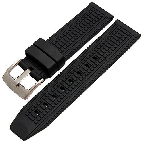 New Herren schwarz Silikon Uhrenarmband Bands Wasserdicht 24 mm S S Schnalle