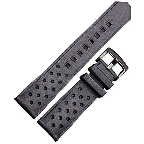 NW 22 mm Silikon Uhrenarmband Diver Racing Carrera Band Schwarz S S Schnalle