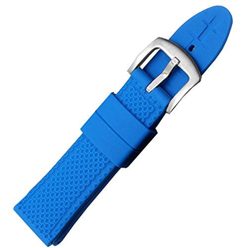 NW HQ Weich bluesilicone Gummi Uhrenarmband Band Wasserdicht mit S S Schnalle 22 mm