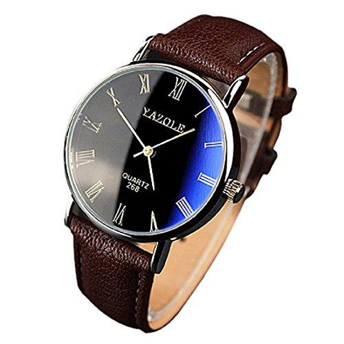 YAZOLE Uhren Luxusmode leder Blue Ray Glas Analog Quarzhr Chronograph Uhr Braun