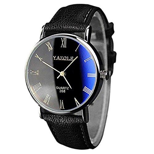 YAZOLE Uhren Luxusmode leder Blue Ray Glas Analog Quarzhr Chronograph Uhr Schwarz