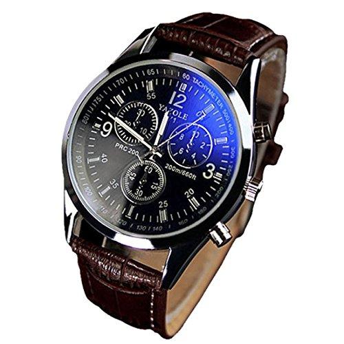 YAZOLE Uhren Luxusmode leder Blue Ray Glas Analog Quarzhr Chronograph Uhr Braun schwarz