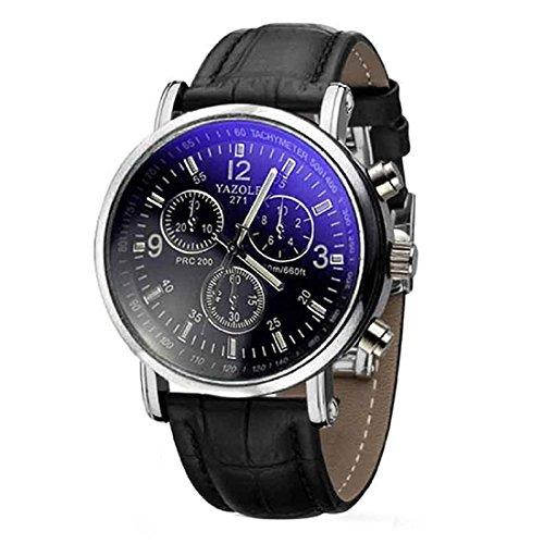 Herren Blue Ray Glas Armbanduhr YAZOLE Luxusmode leder Blue Ray Glas Analog Quarzuhr Chronograph Uhr Schwarz