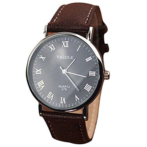 Mens Quarz analoge Uhren YAZOLE Luxusmode Kunstleder Mens Quarz analoge Uhren Braun Schwarz