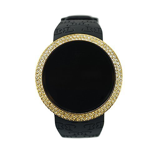 Techno Pave Iced Out Bling Lab Diamant Gold Schwarz Digital Touch Bildschirm Sport Smart Watch Silikon Band