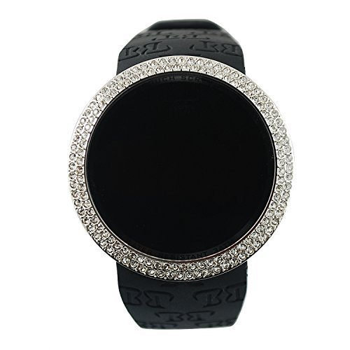 Techno Pave Iced Out Bling Lab Diamant Silber Schwarz Digital Touchscreen Armbanduhr Sportuhr Silikon Band